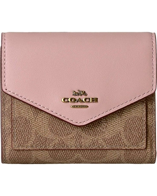 6ab1181f COACH COACH Small Wallet in Color Block Coated Canvas Signature  (Tan/Blossom/Brass) Wallet Handbags from Zappos | parenting.com Shop
