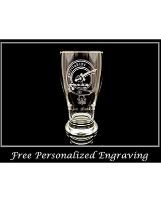 Clan MacRae Scottish Crest Pint Glass- Free Personalized Engraving, Family Crest, Pub Glass, Beer Glass, Custom Beer Glass
