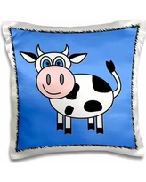 East Urban Home Rolph Happy Cow Boy Pillow CoverPolyester/Polyester blend in Black, Size 16.0 H x 16.0 W in   Wayfair
