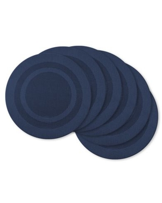 Design Imports Double Bordered Round Placemats in Nautical Blue (Set of 6)