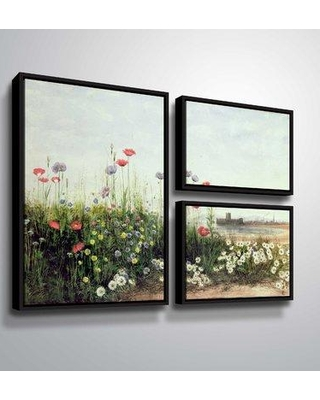 """August Grove 'Bank of Summer Flowers' Acrylic Painting Print Multi-Piece Image on Canvas BF187943 Size: 36"""" H x 48"""" W x 2"""" D Format: Flag Floater Frame"""