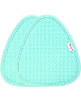 """2pk Teal (Blue) Waffle Silicone Pot Holder (7.5""""x8.25"""") - T-Fal"""