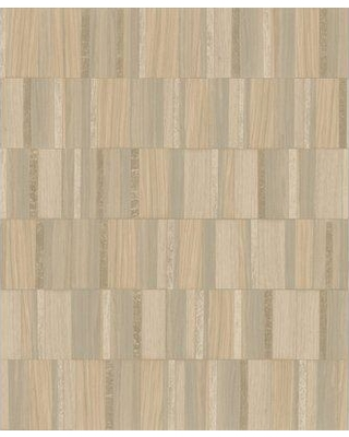 """Ivy Bronx Dreen 32.8' L x 20.8"""" W Gilded Wood Tile Wallpaper Roll BF185184 Color: Taupe/Blonde Wood"""