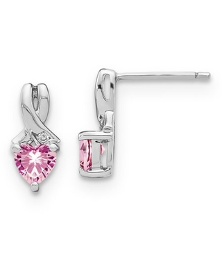 Primal Silver Sterling Silver Created Pink Sapphire and Diamond Earrings