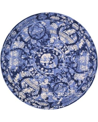 World Menagerie Mcdonell Blue Area Rug WRMG6164 Rug Size: Round 8'