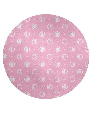 East Urban Home Pastel Moon Phases Pattern Poly Chenille Rug EBKQ8075 Rug Size: Round 5'