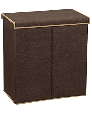 Household Essentials 5614 Double Hamper Laundry Sorter with Magnetic Lid, Brown Coffee Linen