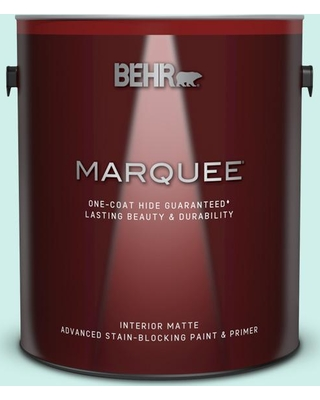 BEHR MARQUEE 1 gal. #490A-1 Teal Ice Matte Interior Paint and Primer in One