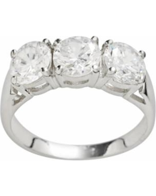 0835aaa37 Rhodium-Plated Sterling Silver Cubic Zirconia Ring, Women's, Size: 7, White