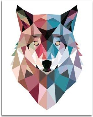 "Wrought Studio 'Geo Wolf' Graphic Art Print BF117429 Format: Paper Size: 20"" H x 16"" W x 0.01"" D"