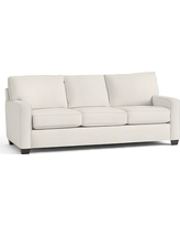 """Buchanan Square Arm Upholstered Grand Sofa 89.5"""", Polyester Wrapped Cushions, Denim Warm White"""