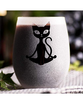 Cat Meditation - Stemless Wine Glass - Gift For Her - Gift For Girl - Gift Idea for Women - Bridesmaid Wedding Party Favor