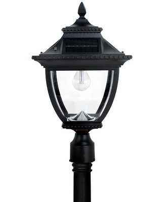 GAMA SONIC Pagoda Bulb Solar Large 1-Light Black Cast Aluminum LED Outdoor Post Lantern with GS LED Bulb and High/Low Switch