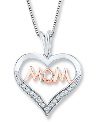 c0dad3737 New Deals on Mom Heart Necklace 1/10 ct tw Diamonds Sterling Silver ...