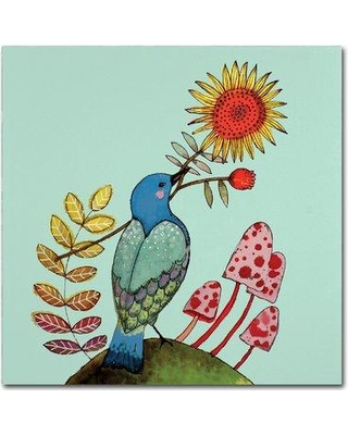 """Trademark Art 'Sunflower' Graphic Art Print on Wrapped Canvas ALI15188-C Size: 14"""" H x 14"""" W"""