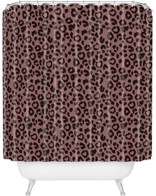 Leopard Love Shower Curtain Black
