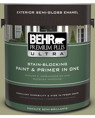 BEHR Premium Plus Ultra 1 gal. #PPU9-22 Cricket Semi-Gloss Enamel Exterior Paint and Primer in One
