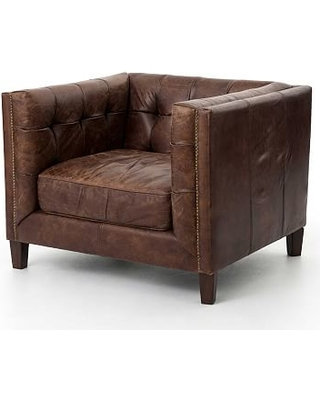 Burke Leather Armchair Polyester Wrapped Cushions, Cigar