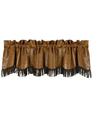"""Loon Peak Bryce Canyon Faux Leather 84"""" Window Valance with Fringes LOPK6172"""
