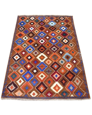 """Shahbanu Rugs Brown Geometric Design Colorful Afghan Baluch Pure Wool Hand Knotted Oriental Rug (3'5"""" x 4'10"""") - 3'5"""" x 4'10"""" (Brown - 3'5"""" x 4'10"""")"""