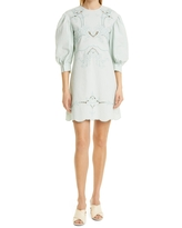 See by Chloe Embroidered Puff Sleeve Dress, Size 6 Us in Automnal Blue at Nordstrom