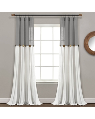 Shopping Special For 84 X40 Linen Button Light Filtering Window Curtain Panels Single Dark Gray White Lush Décor