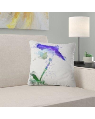 "East Urban Home Floral Bellflower Sketch Watercolor Pillow FUSI5455 Size: 18"" x 18"" Product Type: Throw Pillow"