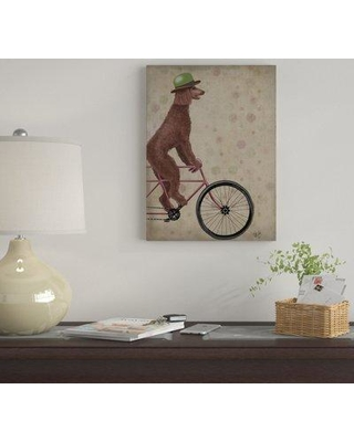 """Winston Porter 'Poodle on Bicycle Brown' Graphic Art Print on Wrapped Canvas WNPO4053 Size: 32"""" H x 24"""" W x 2"""" D"""