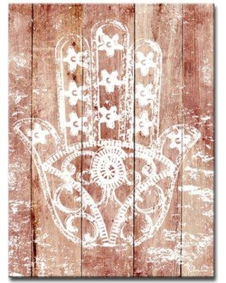 """Bloomsbury Market Olivia Rose Inspirational 'Hamsa Hand I' Graphic Art Print on Wrapped Canvas BF141982 Size: 20"""" H x 16"""" W x 1.5"""" D"""