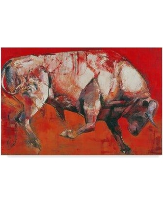 """Trademark Fine Art 'The White Bull' Acrylic Painting Print on Wrapped Canvas BL01672-CGG Size: 16"""" H x 24"""" W x 2"""" D"""