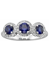The Regal Collection 14k White Gold Genuine Sapphire and 1/5-ct. T.W. IGL Certified Diamond 3-Stone Frame Ring, Women's, Size: 7, Blue