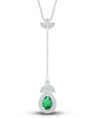Jared The Galleria Of Jewelry Lab-Created Sapphire & Lab-Created Emerald Necklace Sterling Silver