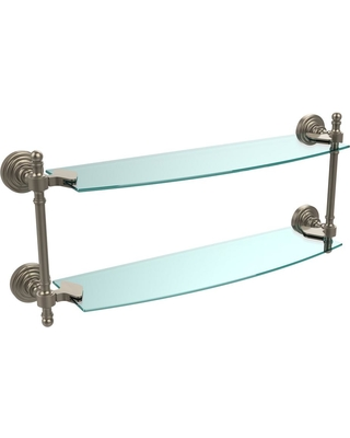 Allied Brass Retro Wave Collection 18 in. Two Tiered Glass Shelf in Antique Pewter