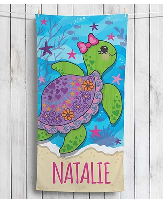 Personalized Planet Beach Towels - Blue Sea Turtle Velour Personalized Beach Towel