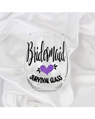 Funny Bridesmaid Proposal Purple Unique Stemless Wine Glass Gift Glitter for her 0066