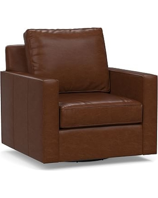 Cameron Square Arm Leather Swivel Armchair, Polyester Wrapped Cushions, Legacy Chocolate