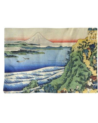 """East Urban Home Katsushika Hokusai Travellers Climbing a Mountain Path 18"""" Placemat FCJE5668 Material: Poly Twill"""