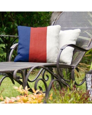 """East Urban Home Chicago Baseball Indoor / Outdoor Striped Throw Pillow FCOM2363 Color: Blue/Red/White Size: 20"""" x 20"""""""