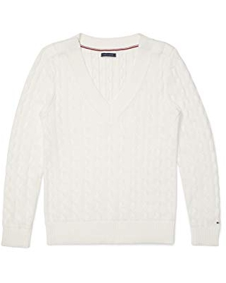 Tommy Hilfiger Women's Adaptive Classic Sweater with Velcro Brand Closures at Shoulders, Snow White, XS