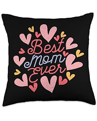 Happy Mothers Day Ideas and Apparel For Mom Happy Mother's Day 2021 Best Ever Cute Women's Mom Throw Pillow, 18x18, Multicolor