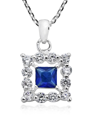 Handmade Square Framed Cubic Zirconia Sterling Silver Necklace (Thailand) (Purple)