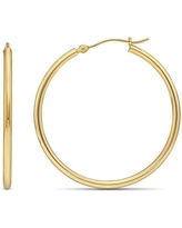 14K Yellow Gold 2MM Polished Round Tube Hoops Earrings, All Sizes, Classic Gold Hoop Earrings for Women, 100% Real 14K Gold (30mm)