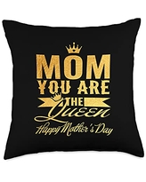 Family 365 Mom The Queen Happy Mothers Day Women Gift Throw Pillow, 18x18, Multicolor