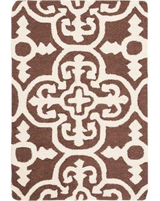 Ophelia & Co. Marlen Hand-Tufted Wool Dark Brown/Ivory Area Rug OPCO5394 Rug Size: Rectangle 4' x 6'