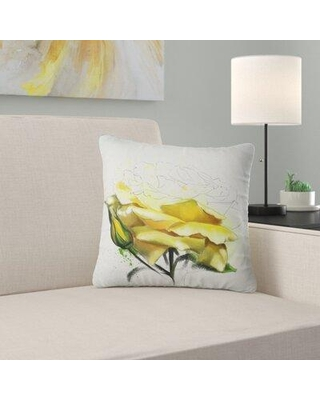 """East Urban Home Floral Rose Illustration Watercolor Pillow FUSI5461 Size: 16"""" x 16"""" Product Type: Throw Pillow"""