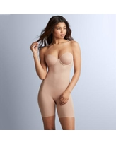 Women's Red Hot by Spanx Convertible Cupped Mid-Thigh Bodysuit 10173R, Size: Large, Beige
