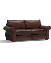 """Pearce Leather Sofa 81"""", Down Blend Wrapped Cushions, Leather Burnished Walnut"""