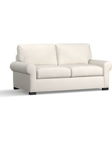 Turner Roll Arm Upholstered Deluxe Sleeper Sofa, Polyester Wrapped Cushions, Denim Warm White