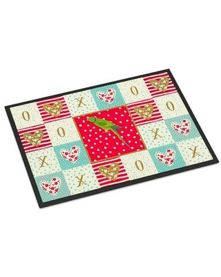 Here S A Great Deal On The Holiday Aisle Safiya Ring Necked Parakeet 36 In X 24 In Non Slip Indoor Outdoor Door Mat Synthetics In Red Navy Blue Size 24 W X 36 D