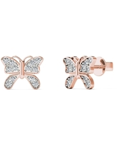 AALILLY 10K Rose Gold Diamond Accent Butterfly Stud Earrings (H-I, I1-I2)